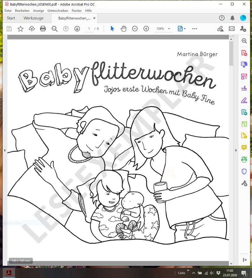 """PDF Ansicht des Leseexemplars von """"Babyflitterwochen - Jojos erste Wochen mit Baby Fine"""""""